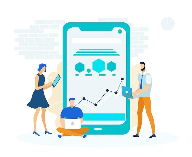 Cross platform business app illustration Premium Vector