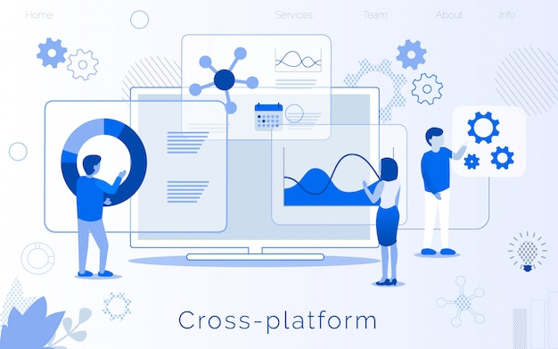 Cross platform development creation landing page Vector | Premium