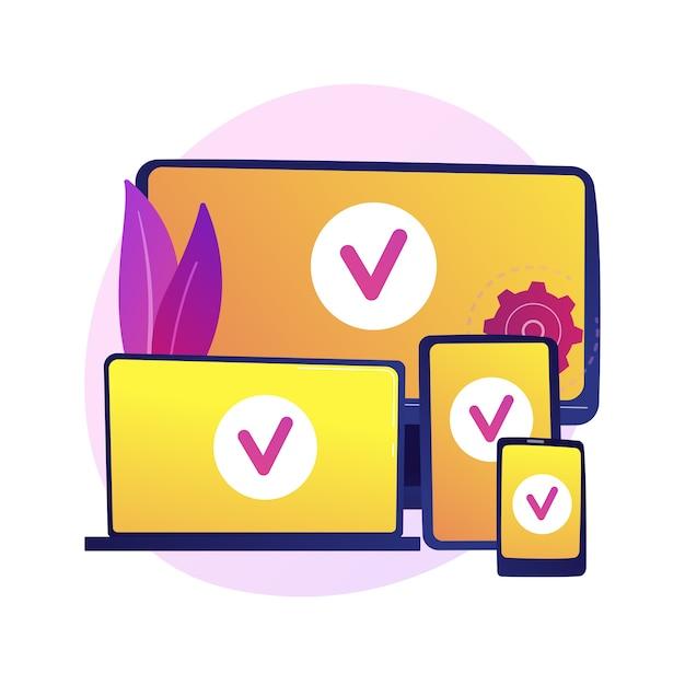 Cross platform devices. multiplatform connection, gadgets synchronization, adaptive development. linked computer, laptop, tablet and smartphone. Free Vector