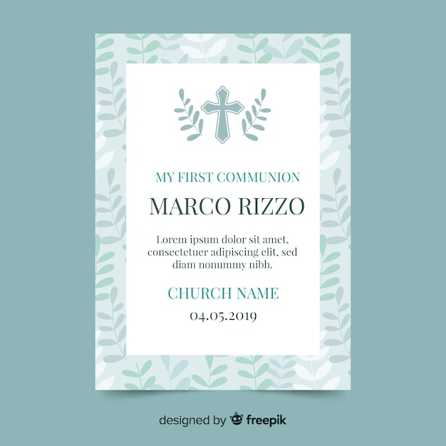 Cross with leaves first communion invitation Free Vector