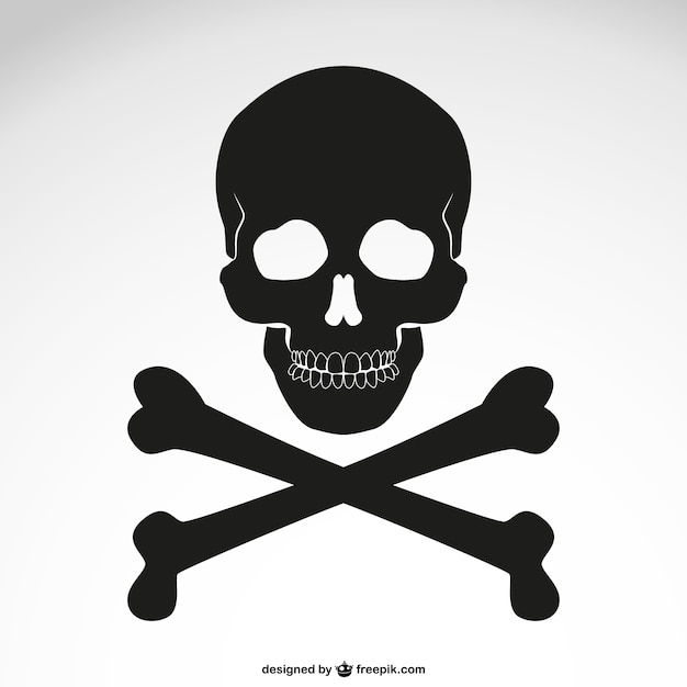 Crossed bones skull icon Free Vector