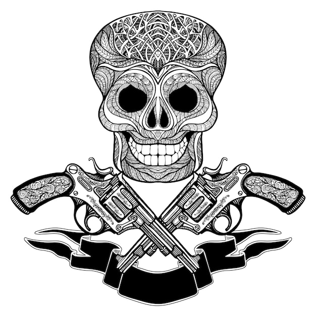 Crossed guns with ornaments  ribbon and  skull Free Vector