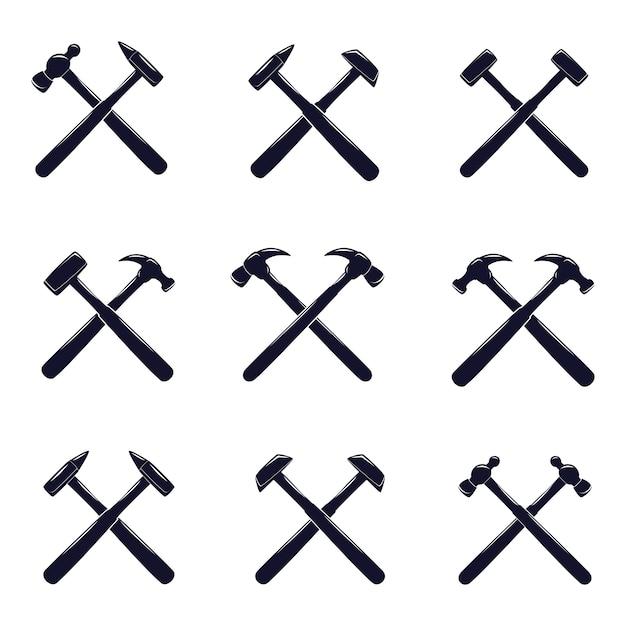 Crossed Hammer Icon Set Vector Premium Download