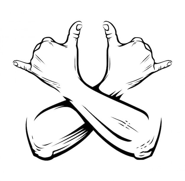 白のラスタマンジェスチャーで手を組んだ。サインを吸うことができます。図。 Premiumベクター