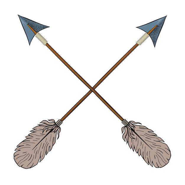 Crossed indian arrows. Premium Vector