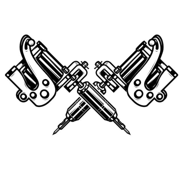 Скрещенные татуировки на белом фоне. элемент для плаката, эмблемы, знака, значка. иллюстрация Premium векторы