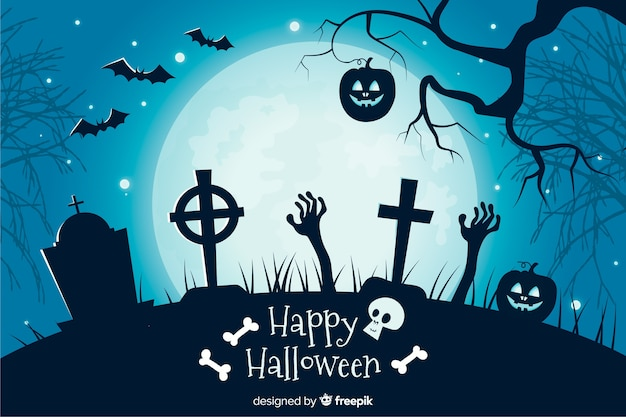 Crosses in a cemetery flat halloween background Free Vector