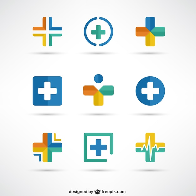 crosses medical logo templates vector free download