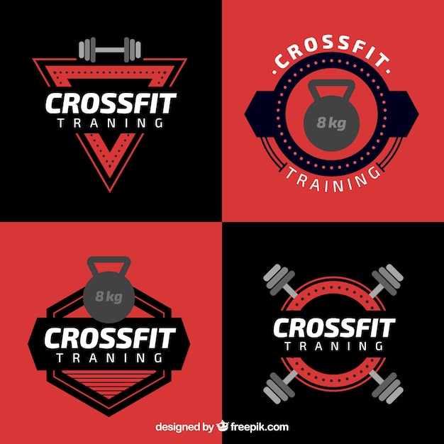 Crossfit black an red label collection Free Vector
