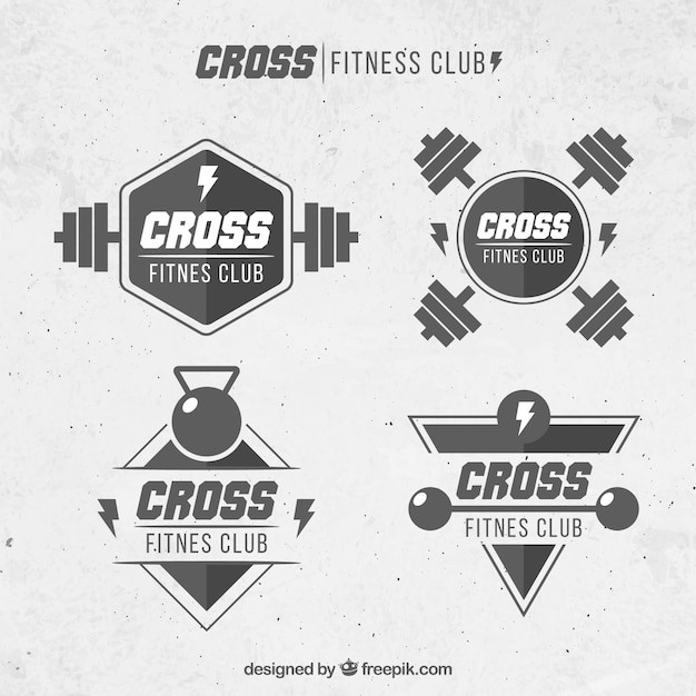 Crossfit black and white label collection Free Vector