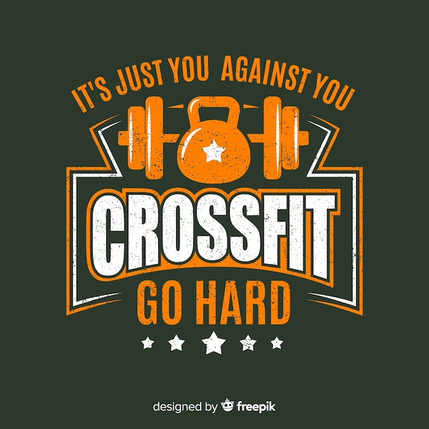 Crossfit emblem with motivational phrase Free Vector