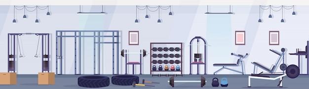 운동 장비 건강 한 라이프 스타일 개념 빈 아니 사람 체육관 인테리어 훈련 장치 가로 배너와 크로스 핏 헬스 클럽 스튜디오 프리미엄 벡터