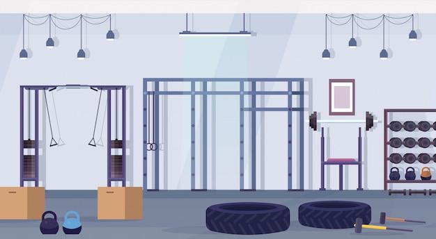 운동 장비 건강 한 라이프 스타일 개념 빈 아니 사람 체육관 인테리어 훈련 장치 가로 크로스 핏 헬스 클럽 스튜디오 프리미엄 벡터