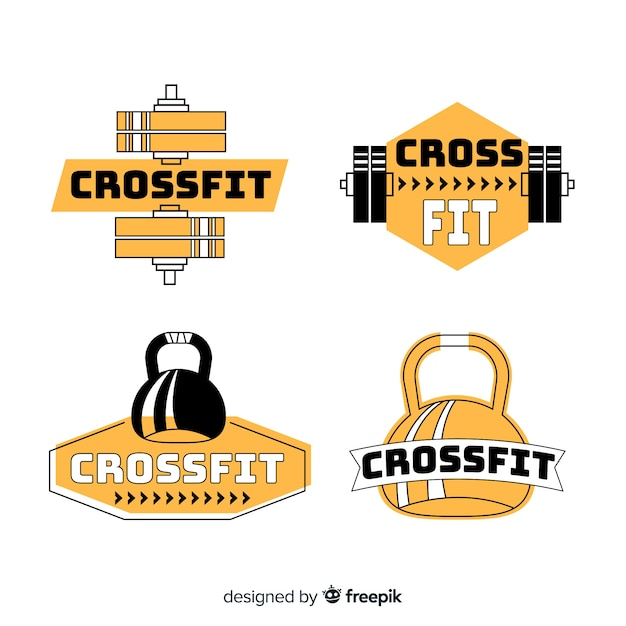 Crossfit logo collection flat design Free Vector