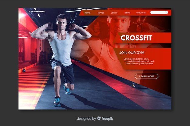 Crossfit man landing page with photo Free Vector