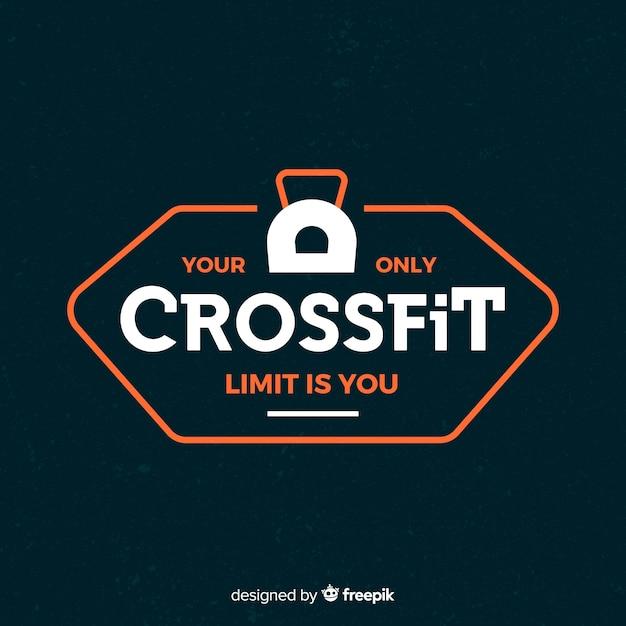 Crossfit motivational emblem flat style Free Vector