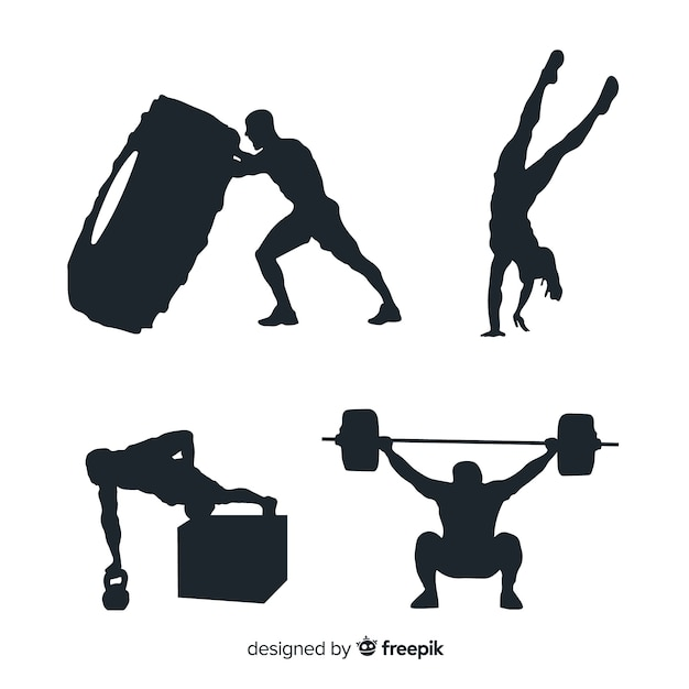 Crossfit training black silhouette collection Free Vector