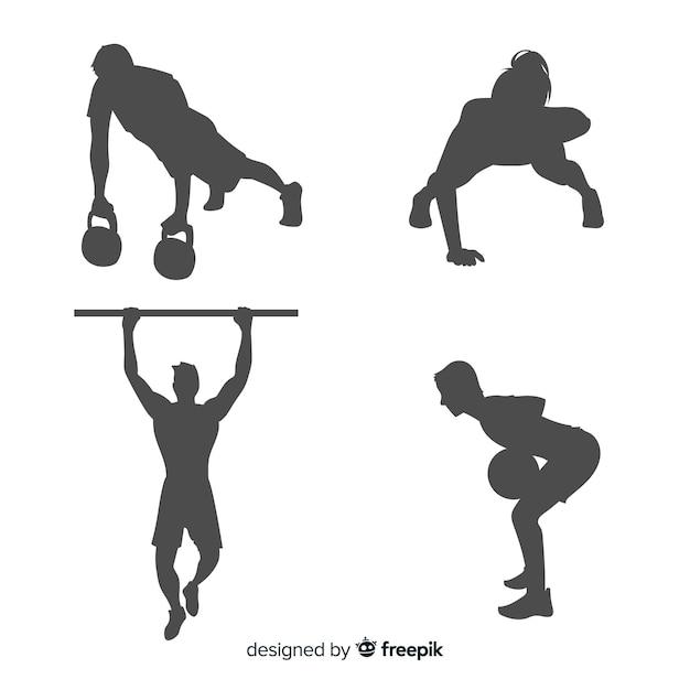 Crossfit training man and woman silhouettes collection Free Vector