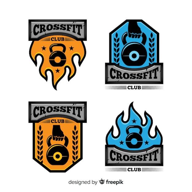 フラットデザインcrossfitロゴコレクション 無料ベクター