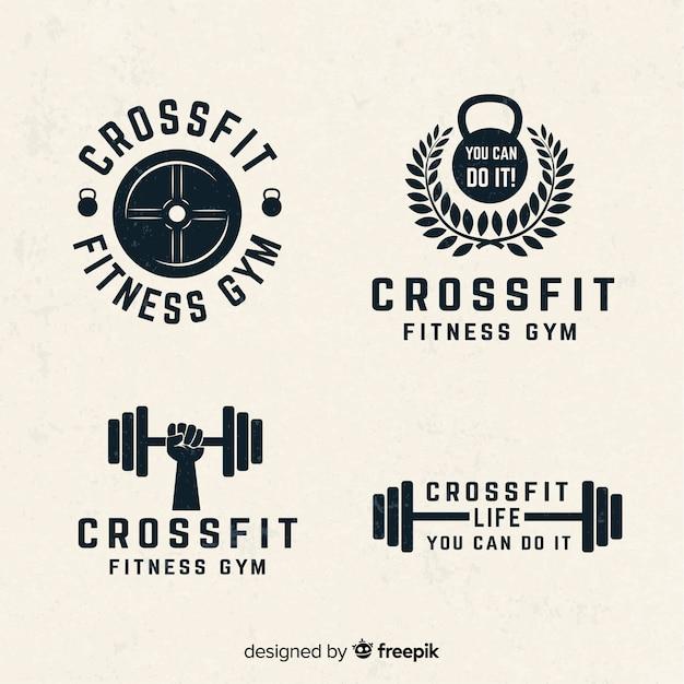 Коллекция crossfit логотипа плоский стиль Бесплатные векторы