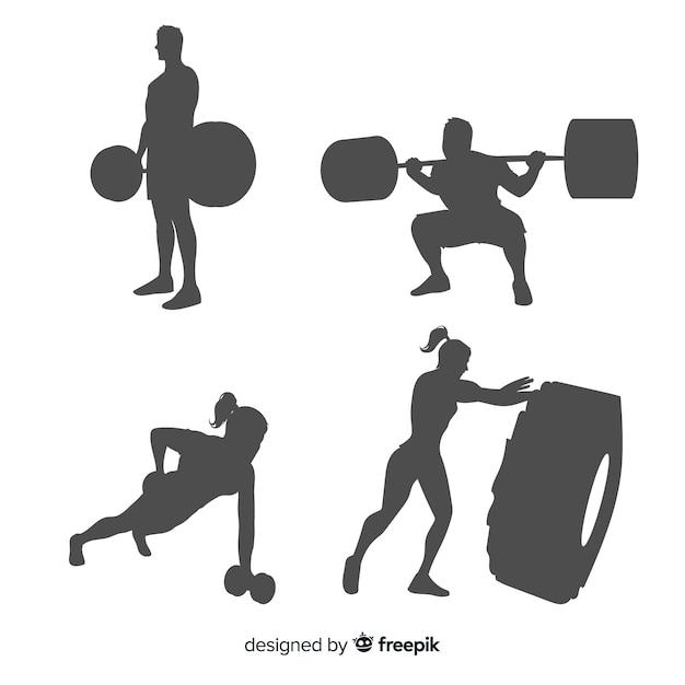 Тренировочная коллекция crossfit для мужчин и женщин Бесплатные векторы