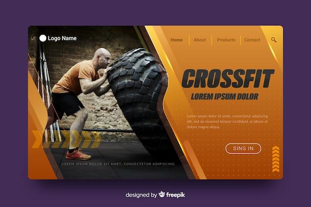 Crossfitスポーツランディングページ 無料ベクター