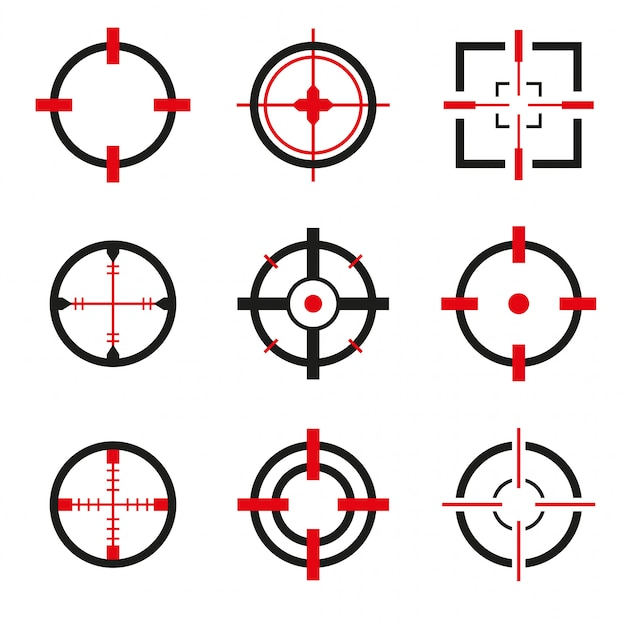 Crosshair icons vector set isolated Premium Vector