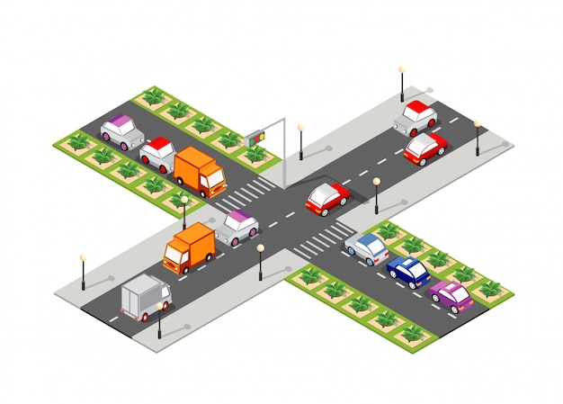 Crossroad road isometric Premium Vector
