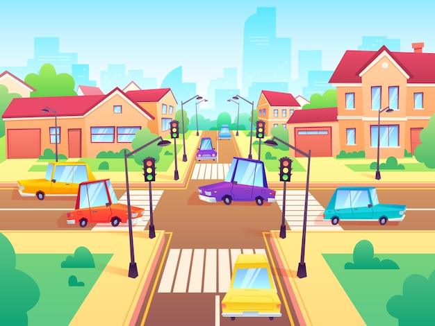 Crossroad with cars. city suburb traffic jam, street crosswalk with traffic lights and road intersection cartoon  illustration Premium Vector