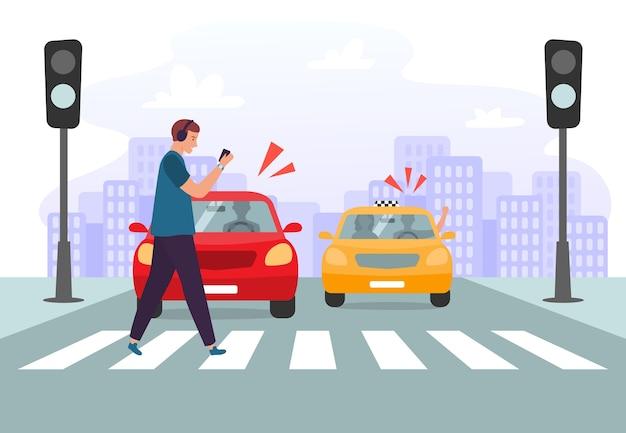 Авария на пешеходном переходе. пешеход со смартфоном и наушниками пересекает дорогу на красный светофор Premium векторы