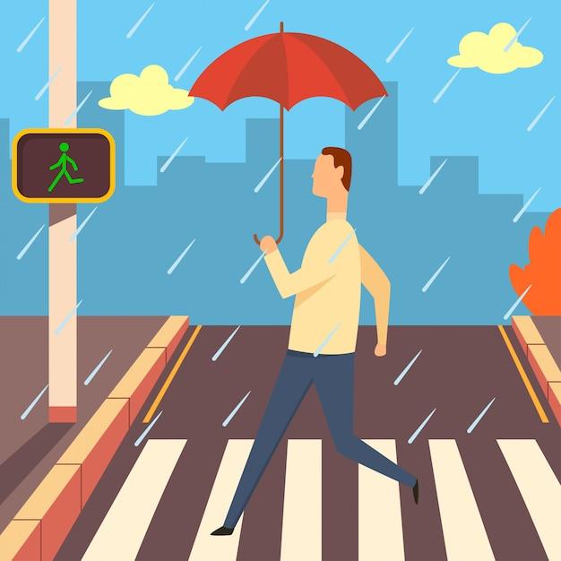 Crosswalk with zebra and traffic light   cartoon illustration. man with umbrella in the rain walking across road. Premium Vector