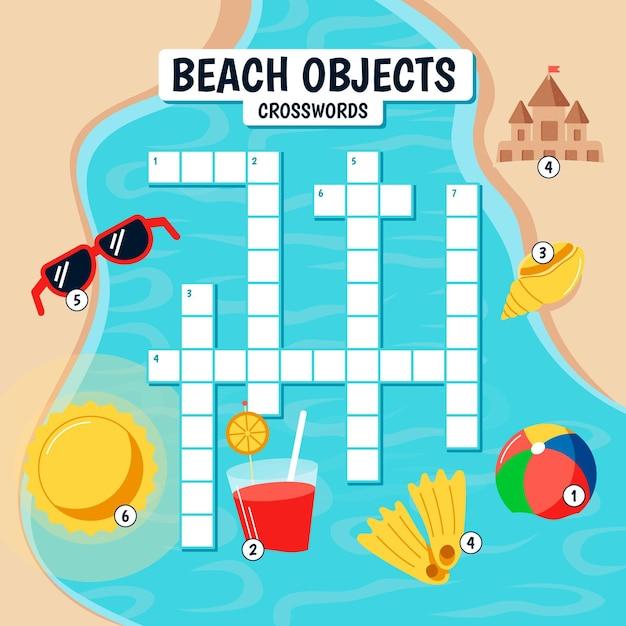 ビーチの要素を持つ子供のための英語のクロスワード 無料ベクター