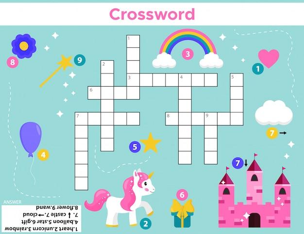 Crossword for preschool kids. Premium Vector