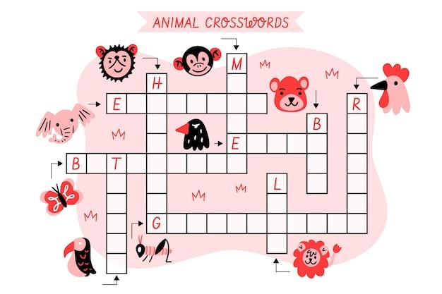 Кроссворд с английскими словами для животных Бесплатные векторы