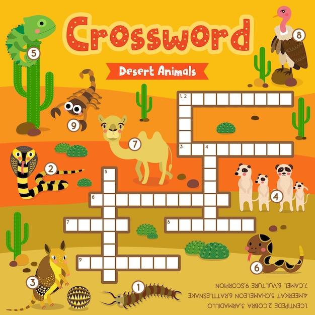 Crosswords puzzle game of desert animals Premium Vector