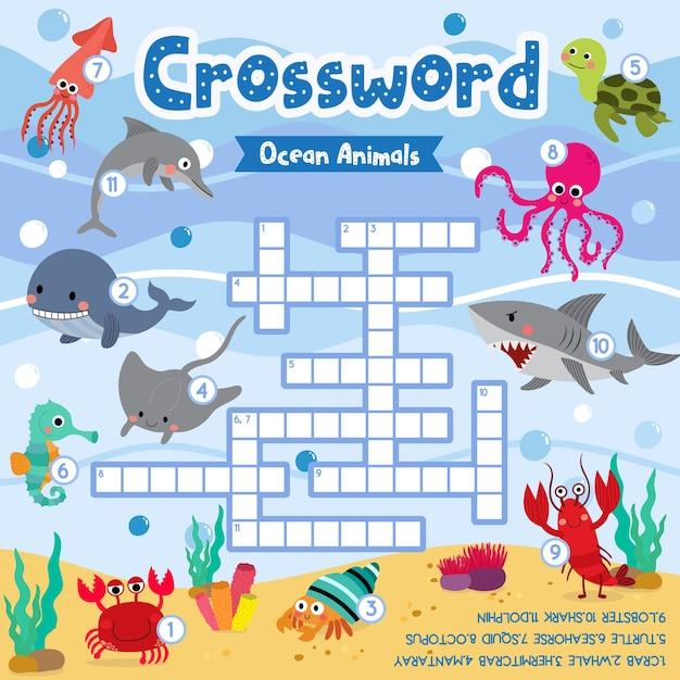 Crosswords puzzle game of ocean animals Premium Vector
