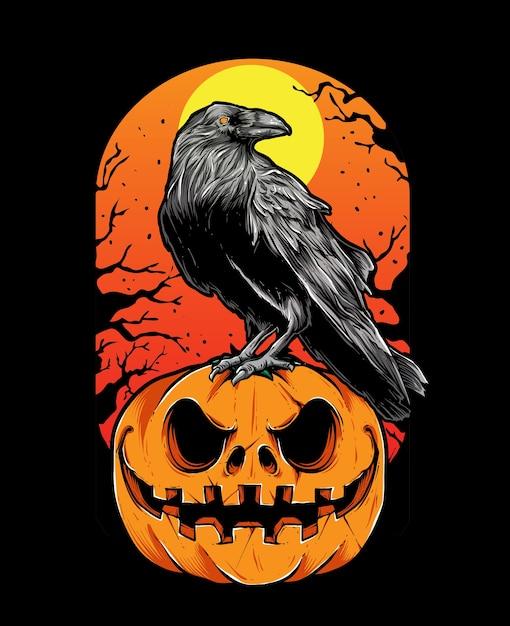 Crow halloween Premium Vector