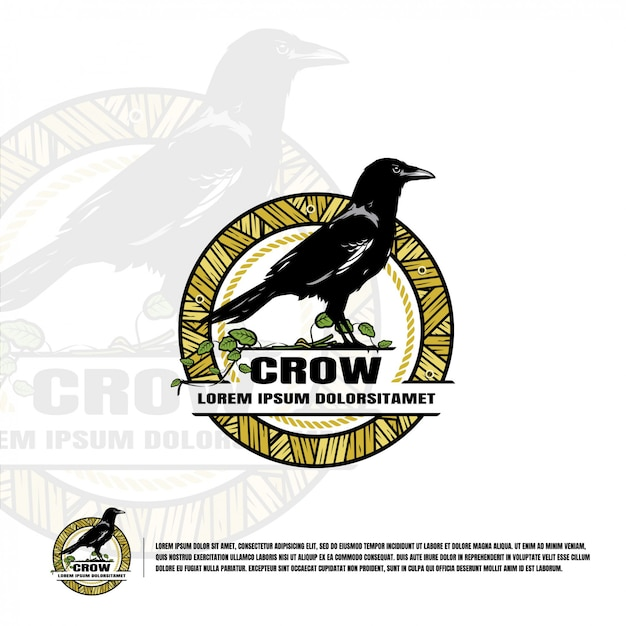 Crow logo template Premium Vector