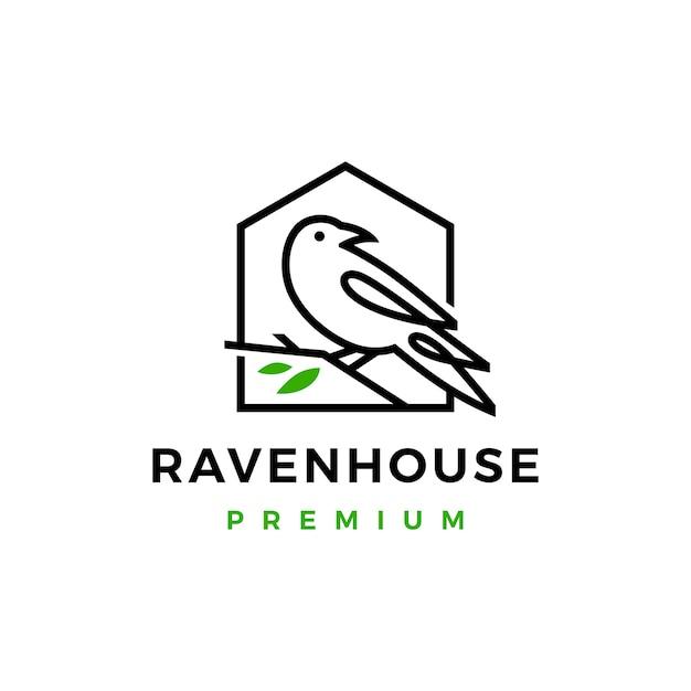 カラスレイヴンバードリーフラインロゴ Premiumベクター
