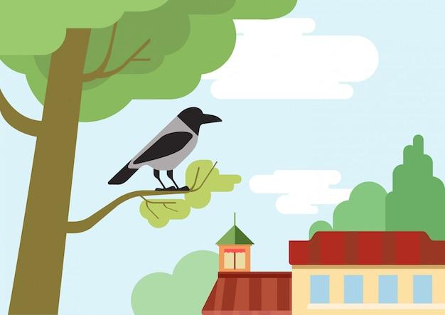 Crow on the street tree branch flat design cartoon   wild animals birds. Free Vector