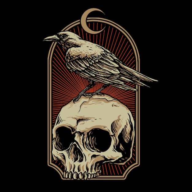 Crow with skull   illustration Premium Vector