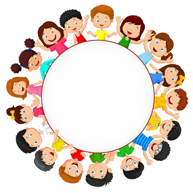 Crowd of children with blank space Premium Vector