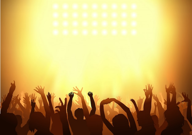 Crowd dancing on a concert with holding their arms up Premium Vector