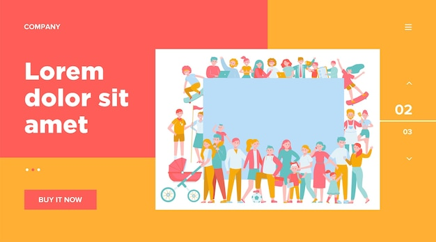 Crowd of happy people with blank placard flat illustration. Free Vector