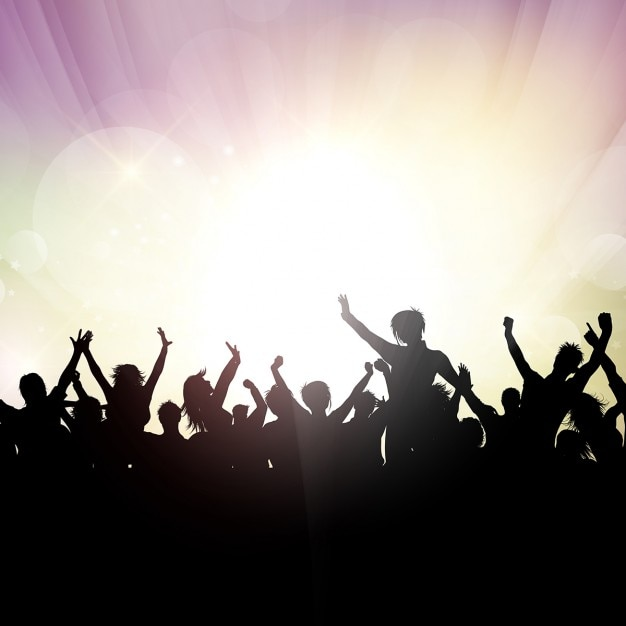 Crowd in a party silhouettes background