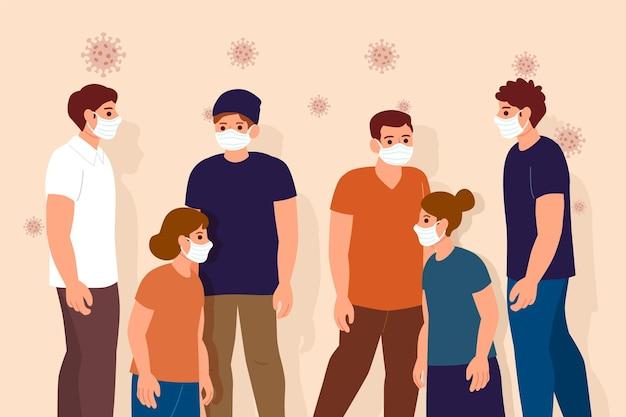 フェイスマスクを着ている人の群れ 無料ベクター