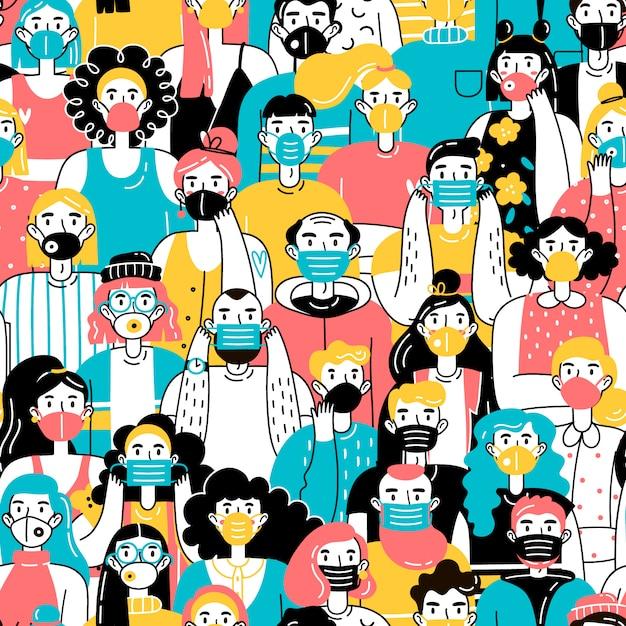 ウイルスから身を守る医療用マスクを着用している人の群れ。シームレスパターン。コロナウイルスの概念 Premiumベクター