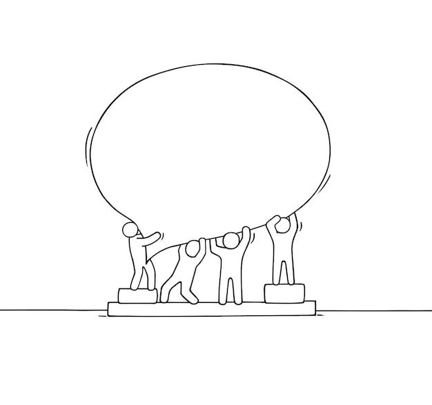 Толпа работающих маленьких людей с речевым пузырем. doodle милая миниатюрная сцена с пустым сообщением. рисованной иллюстрации шаржа для интернет-дизайна. Premium векторы