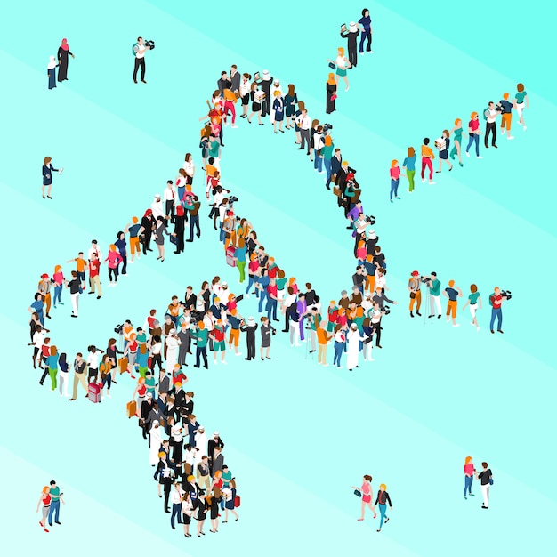 Crowd people isometric megaphone Premium Vector