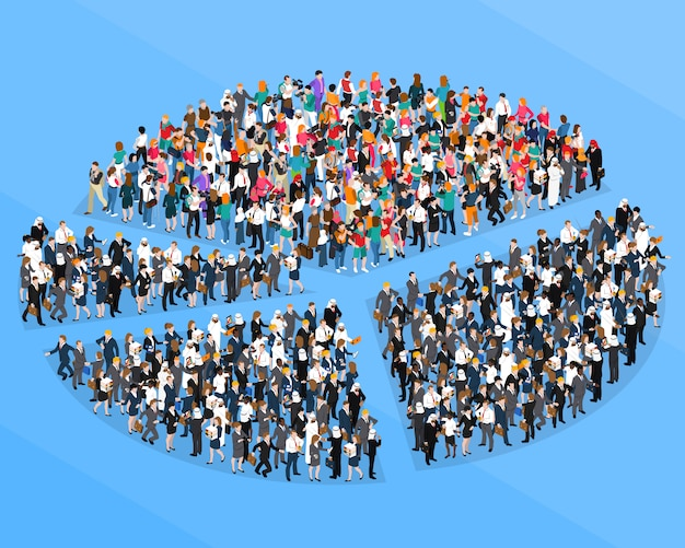 Crowd people isometric pie chart Free Vector